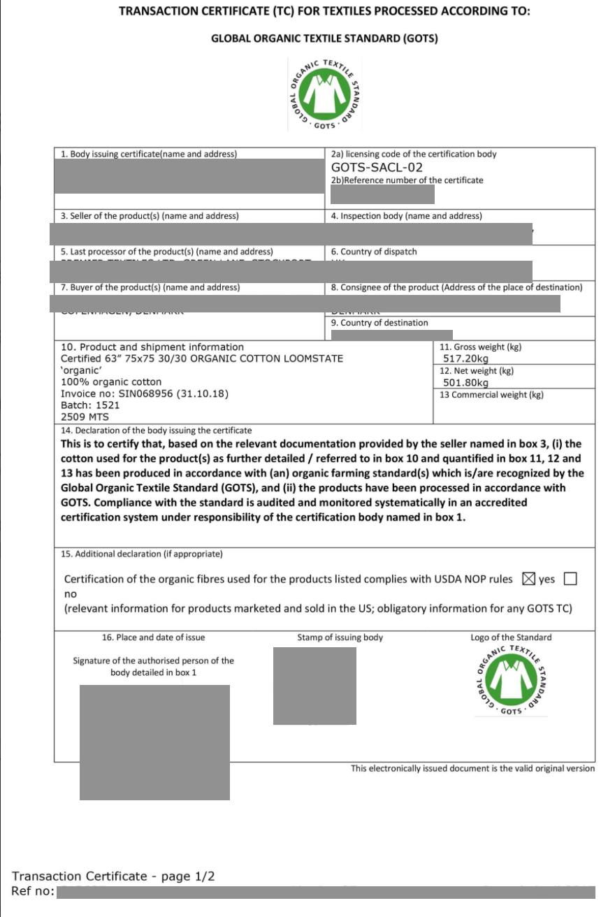 Certificat de conformité GOTS